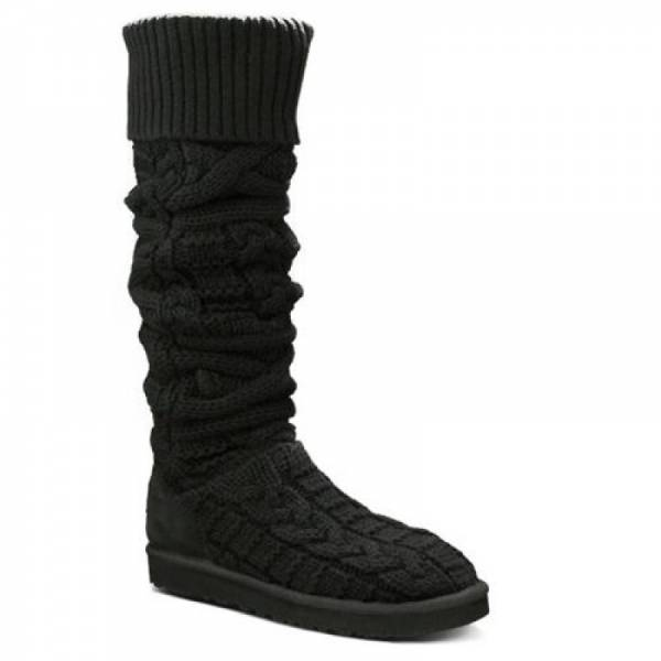 купить Угги UGG® Australia OVER THE KNEE TWISTED CABLE BLACK (3174)